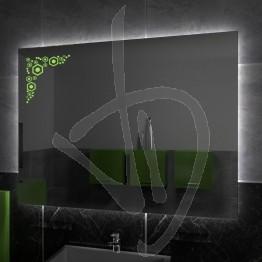 Specchio su misura, con decoro A031, inciso, colorato e illuminato e retroilluminazione a led