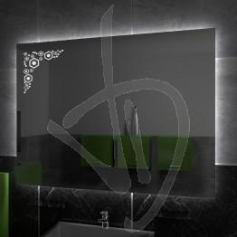Specchio su misura, con decoro A031 inciso e illuminato e retroilluminazione a led