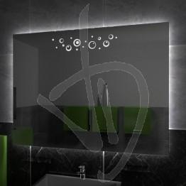 Specchio su misura, con decoro A028 inciso e illuminato e retroilluminazione a led