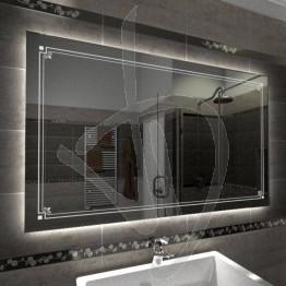 Specchio su misura, con decoro B006 inciso e illuminato e retroilluminazione a led