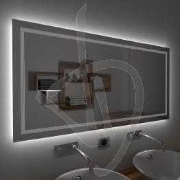 Specchio su misura, con decoro B020 inciso e illuminato e retroilluminazione a led