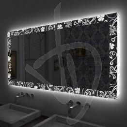 Specchio su misura, con decoro B026 inciso e illuminato e retroilluminazione a led