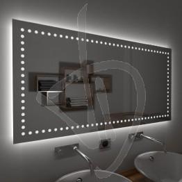 Specchio su misura, con decoro B015 inciso e illuminato e retroilluminazione a led
