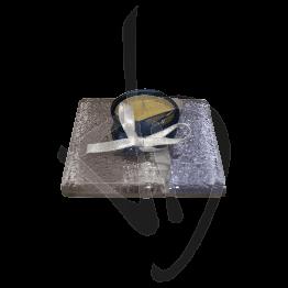 Portacandela in vetro di Murano, toanalità viola chiaro, realizzato a mano