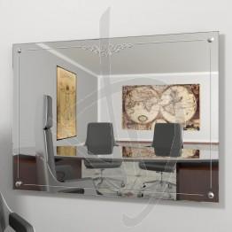 Specchio vintage, con distanziali e decoro B022