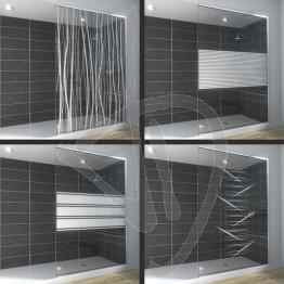 Vetro doccia nicchia, su misura, in vetro trasparente decorato